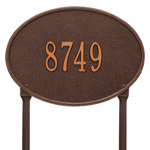 Hawthorne Oval Standard Lawn One Line Plaque in Antique Copper