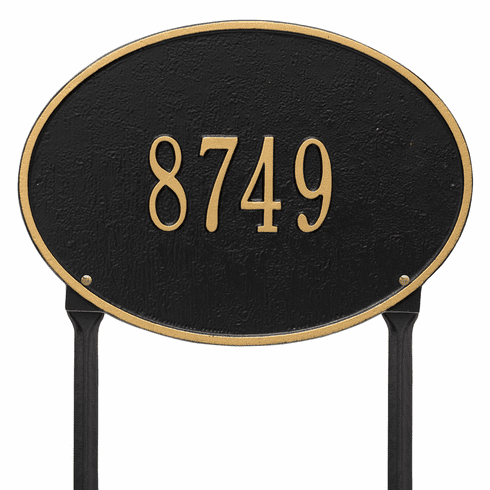 Hawthorne Oval Standard Lawn One Line Plaque in Black and Gold