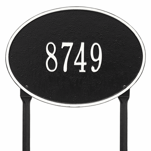 Hawthorne Oval Standard Lawn One Line Plaque in Black and White