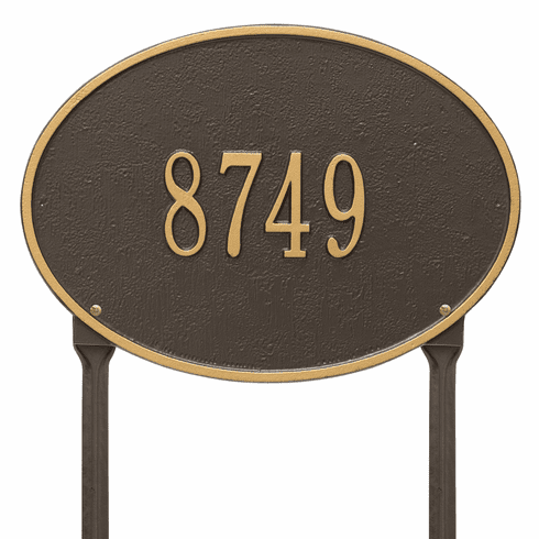 Hawthorne Oval Standard Lawn One Line Plaque in Bronze and Gold