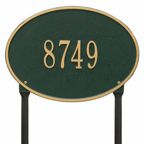 Hawthorne Oval Standard Lawn One Line Plaque in Green and Gold
