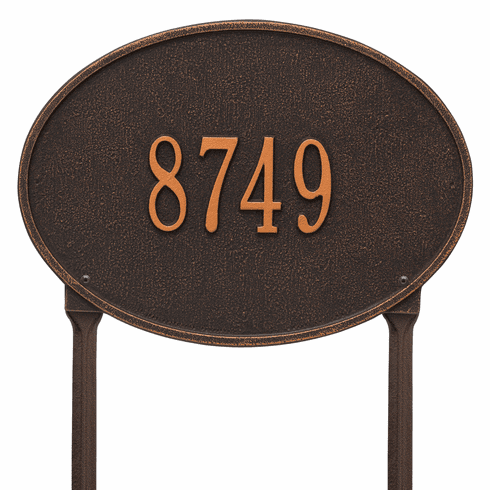 Hawthorne Oval Standard Lawn One Line Plaque in Oil Rubbed Bronze