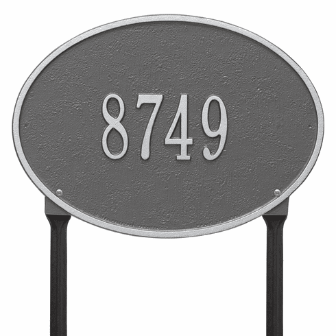 Hawthorne Oval Standard Lawn One Line Plaque in Pewter and Silver