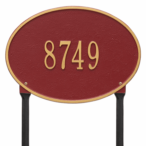 Hawthorne Oval Standard Lawn One Line Plaque in Red and Gold