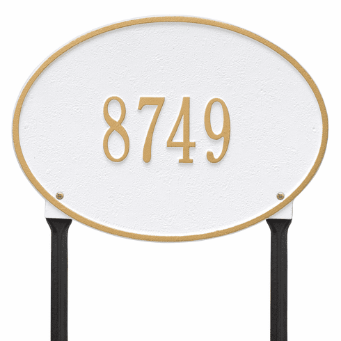 Hawthorne Oval Standard Lawn One Line Plaque in White and Gold