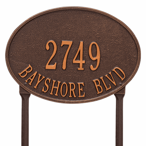 Hawthorne Oval Standard Lawn Two Line Plaque in Antique Copper