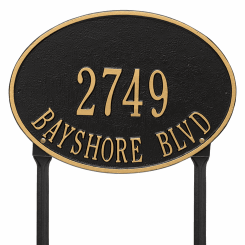 Hawthorne Oval Standard Lawn Two Line Plaque in Black and Gold