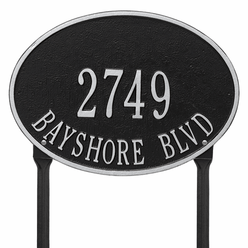 Hawthorne Oval Standard Lawn Two Line Plaque in Black and Silver