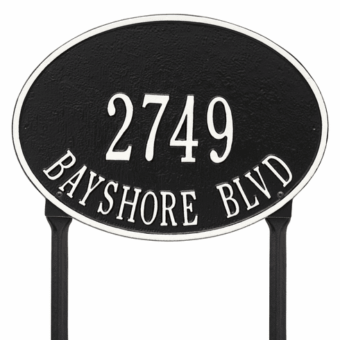 Hawthorne Oval Standard Lawn Two Line Plaque in Black and White