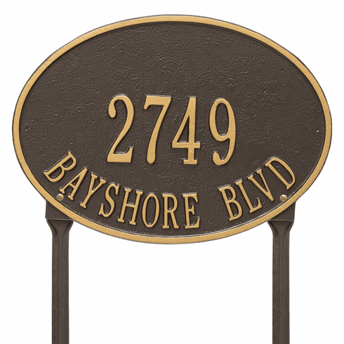 Hawthorne Oval Standard Lawn Two Line Plaque in Bronze and Gold