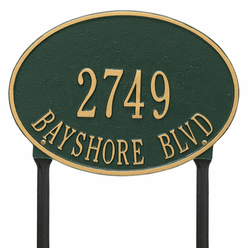 Hawthorne Oval Standard Lawn Two Line Plaque in Green and Gold