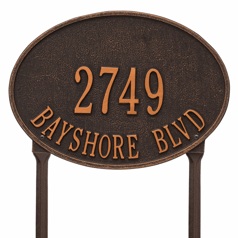 Hawthorne Oval Standard Lawn Two Line Plaque in Oil Rubbed Bronze