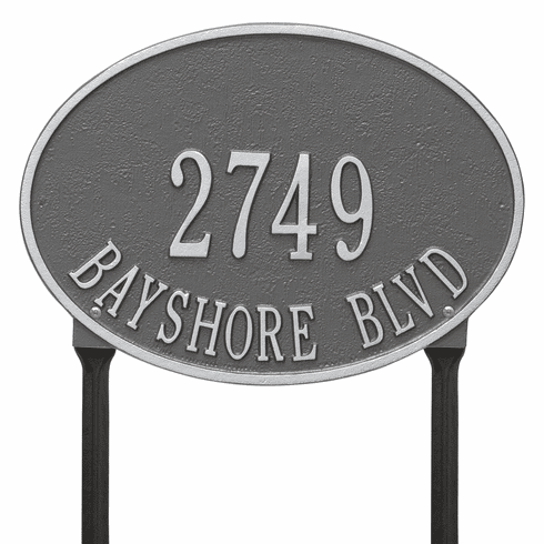Hawthorne Oval Standard Lawn Two Line Plaque in Pewter and Silver