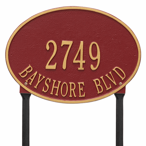 Hawthorne Oval Standard Lawn Two Line Plaque in Red and Gold