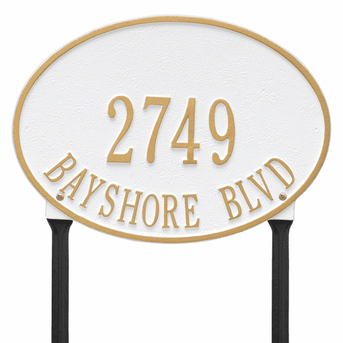 Hawthorne Oval Standard Lawn Two Line Plaque in White and Gold