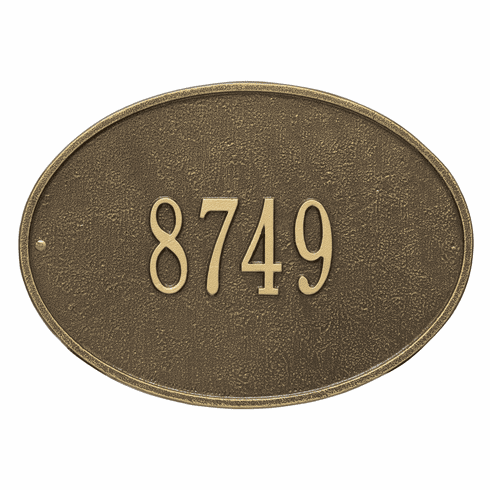Hawthorne Oval Standard Wall One Line Plaque in Antique Brass