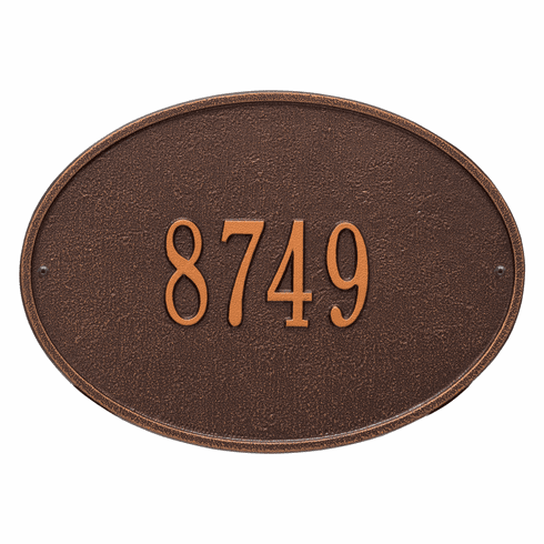 Hawthorne Oval Standard Wall One Line Plaque in Antique Copper