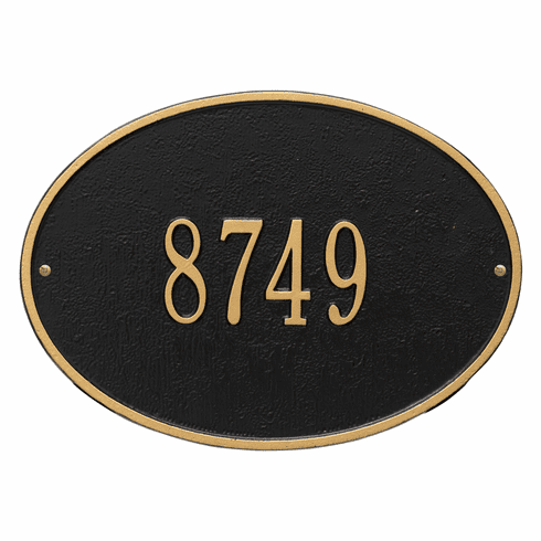 Hawthorne Oval Standard Wall One Line Plaque in Black and Gold
