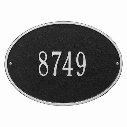 Hawthorne Oval Standard Wall One Line Plaque in Black and Silver