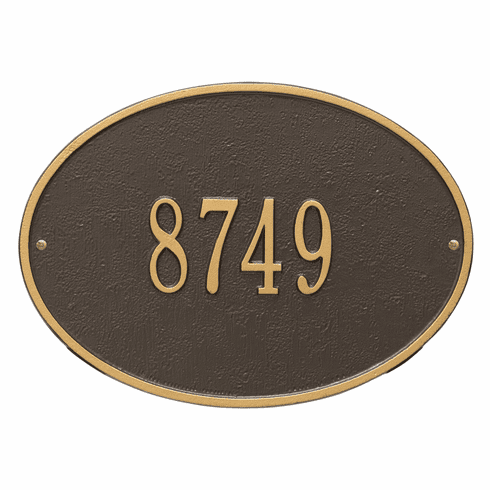 Hawthorne Oval Standard Wall One Line Plaque in Bronze and Gold