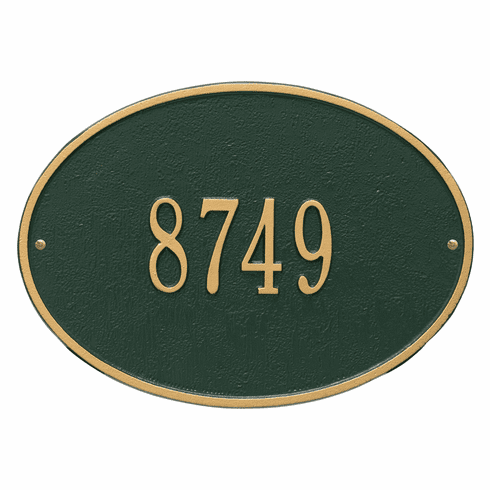 Hawthorne Oval Standard Wall One Line Plaque in Green and Gold