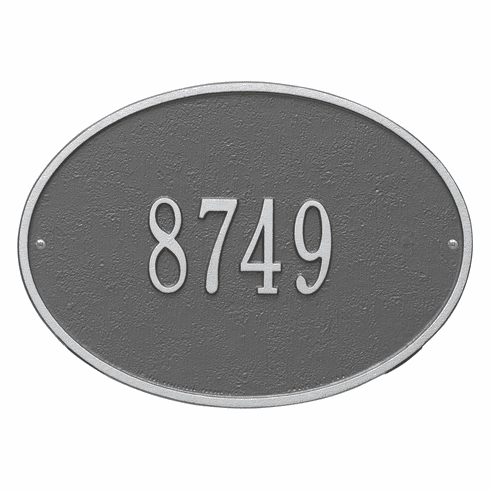 Hawthorne Oval Standard Wall One Line Plaque in Pewter and Silver
