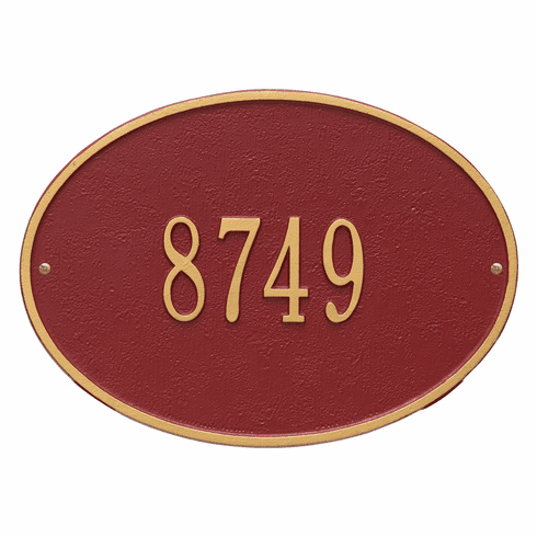 Hawthorne Oval Standard Wall One Line Plaque in Red and Gold