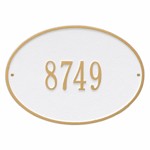 Hawthorne Oval Standard Wall One Line Plaque in White and Gold