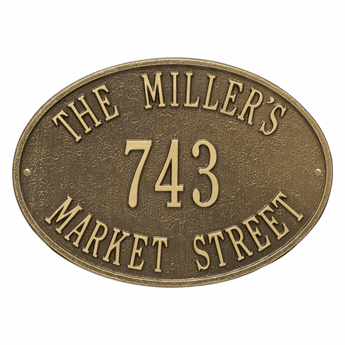 Hawthorne Oval Standard Wall Three Line Plaque in Antique Brass
