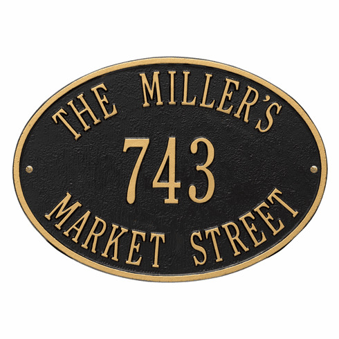 Hawthorne Oval Standard Wall Three Line Plaque in Black and Gold