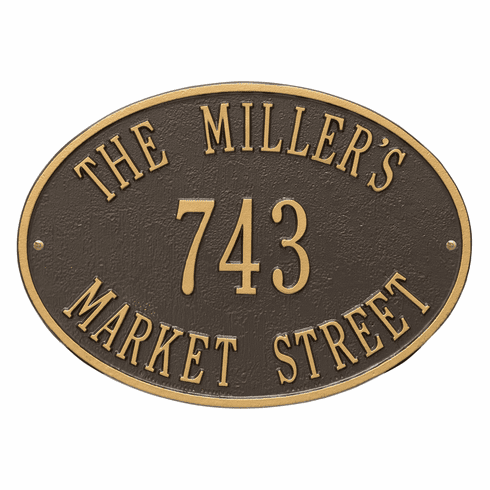 Hawthorne Oval Standard Wall Three Line Plaque in Bronze and Gold