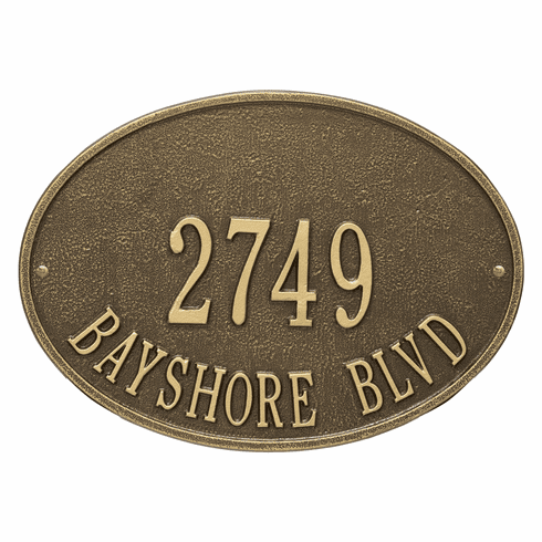 Hawthorne Oval Standard Wall Two Line Plaque in Antique Brass