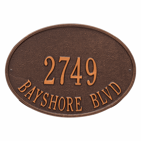 Hawthorne Oval Standard Wall Two Line Plaque in Antique Copper