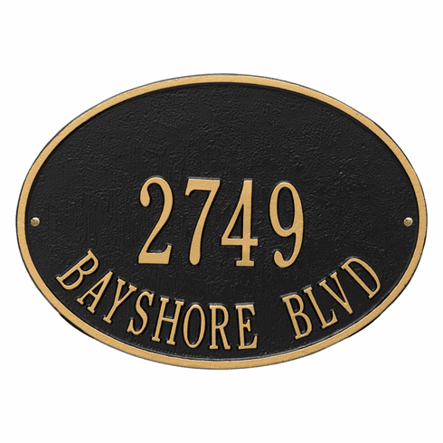 Hawthorne Oval Standard Wall Two Line Plaque in Black and Gold