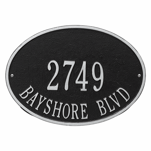 Hawthorne Oval Standard Wall Two Line Plaque in Black and Silver