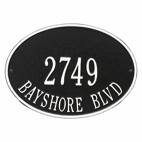 Hawthorne Oval Standard Wall Two Line Plaque in Black and White