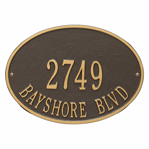 Hawthorne Oval Standard Wall Two Line Plaque in Bronze and Gold