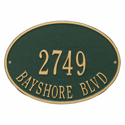 Hawthorne Oval Standard Wall Two Line Plaque in Green and Gold