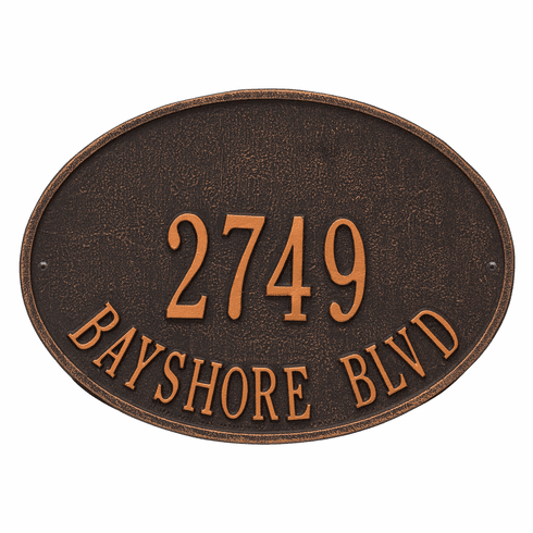 Hawthorne Oval Standard Wall Two Line Plaque in Oil Rubbed Bronze