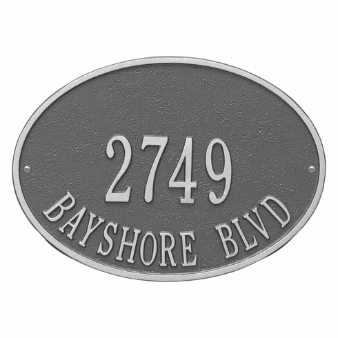 Hawthorne Oval Standard Wall Two Line Plaque in Pewter and Silver