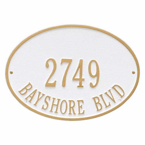 Hawthorne Oval Standard Wall Two Line Plaque in White and Gold