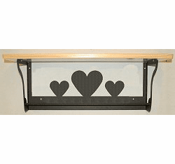 Heart Rustic Towel Bar with Shelf