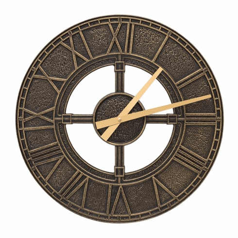 Hera 16 inches Indoor Outdoor Wall Clock - Black and Gold