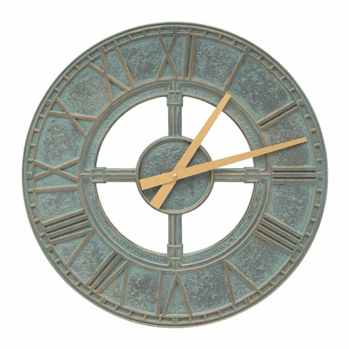 Hera 16 inches Indoor Outdoor Wall Clock - Bronze Verdigris