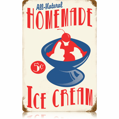 Homemade Ice Cream Sign - Vintage Look Ice Cream Parlor