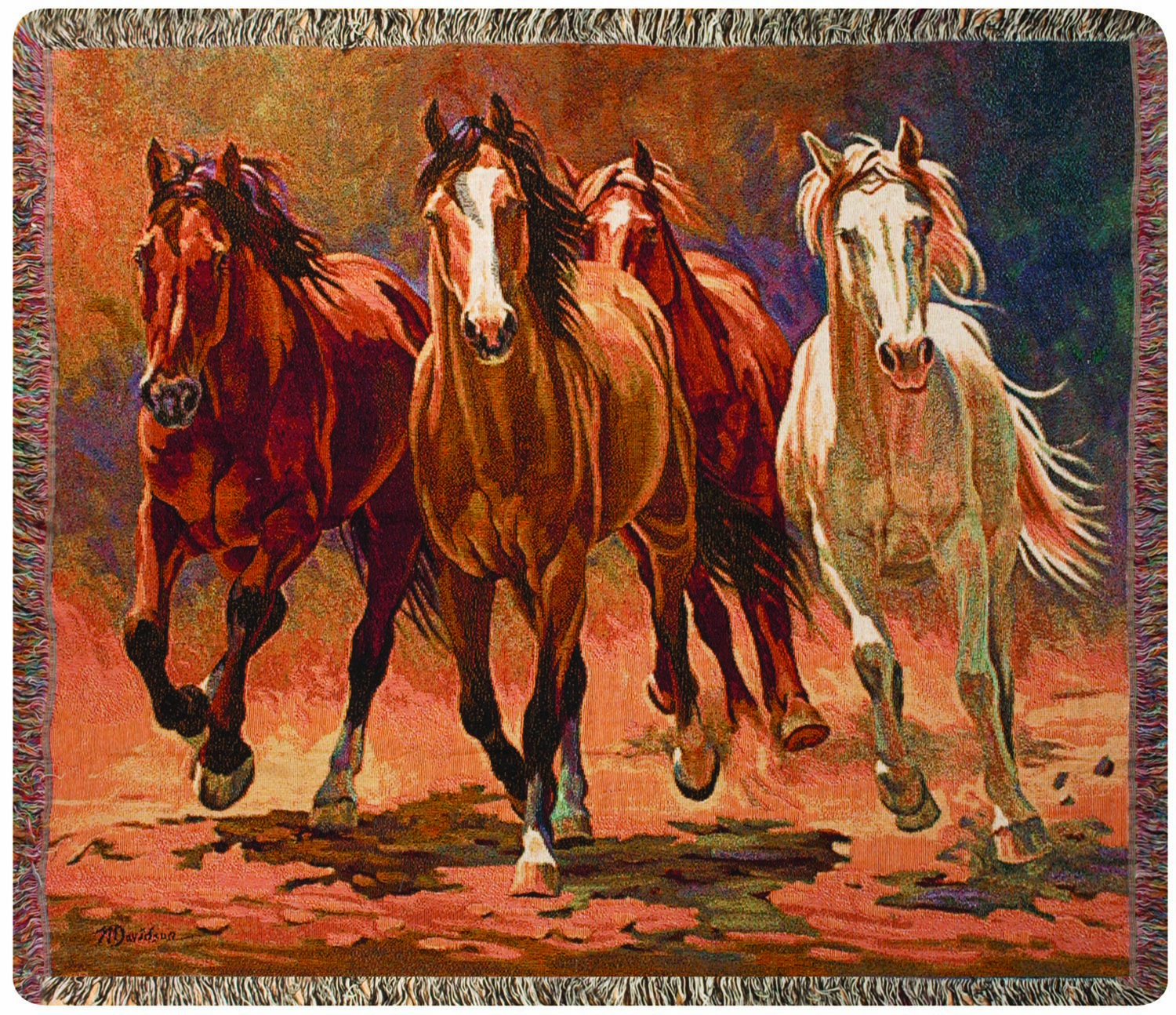 Hoofbeats and Heartbeats of Horses Tapestry Throw