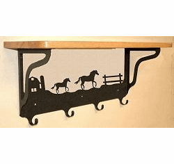 Horse and Barn Coat Hook with Shelf