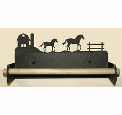 Horse and Barn Paper Towel Holder With Wood Bar