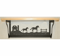 Horse and Barn Rustic Towel Bar with Shelf