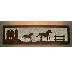Horse and Barn Valance Style Bath Vanity Light